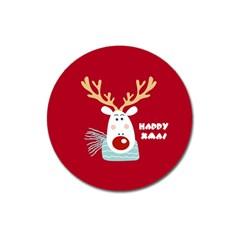 Deer Xmas Magnet 3  (round) by xmasyancow