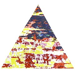 Multicolored Abstract Grunge Texture Print Wooden Puzzle Triangle