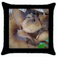 Close Up Mushroom Abstract Throw Pillow Case (black) by Fractalsandkaleidoscopes
