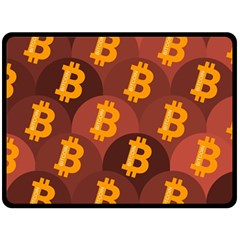 Cryptocurrency Bitcoin Digital Fleece Blanket (large)  by HermanTelo