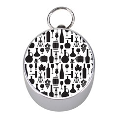 Wine Pattern Black White Mini Silver Compasses