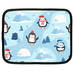 Christmas Seamless Pattern With Penguin Netbook Case (xl) by Vaneshart