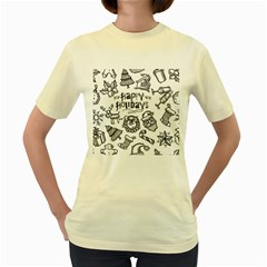 Christmas Seamless Pattern Doodle Style Women s Yellow T-shirt