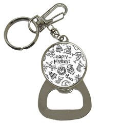 Christmas Seamless Pattern Doodle Style Bottle Opener Key Chain by Vaneshart
