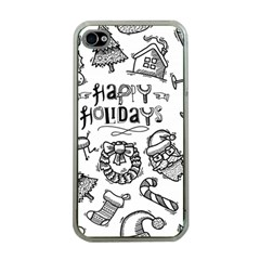 Christmas Seamless Pattern Doodle Style Iphone 4 Case (clear)