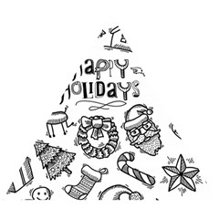 Christmas Seamless Pattern Doodle Style Wooden Puzzle Triangle
