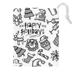 Christmas Seamless Pattern Doodle Style Drawstring Pouch (3xl) by Vaneshart
