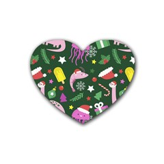 Colorful Funny Christmas Pattern Rubber Coaster (heart)