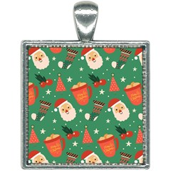 Colorful Funny Christmas Pattern Square Necklace by Vaneshart