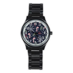 Holiday Seamless Pattern With Christmas Candies Snoflakes Fir Branches Berries Stainless Steel Round Watch