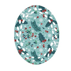 Seamless Pattern With Berries Leaves Ornament (oval Filigree)