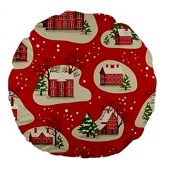 Christmas New Year Seamless Pattern Large 18  Premium Round Cushions
