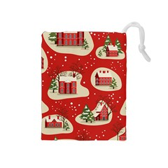 Christmas New Year Seamless Pattern Drawstring Pouch (medium) by Vaneshart