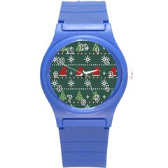 Beautiful Knitted Christmas Pattern Round Plastic Sport Watch (s)