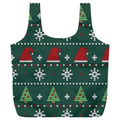 Beautiful Knitted Christmas Pattern Full Print Recycle Bag (xxl)