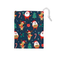 Funny Christmas Pattern Drawstring Pouch (medium) by Vaneshart