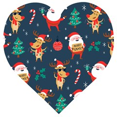 Funny Christmas Pattern Wooden Puzzle Heart