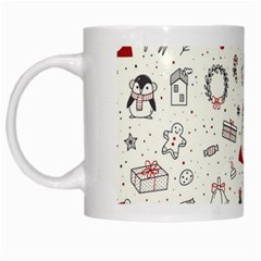 Cute Christmas Doodles Seamless Pattern White Mugs by Vaneshart