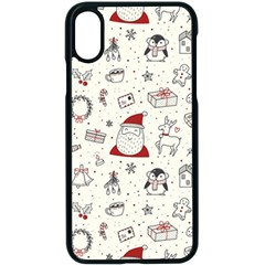 Cute Christmas Doodles Seamless Pattern Iphone X Seamless Case (black)