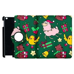 Funny Decoration Christmas Pattern Background Apple Ipad 2 Flip 360 Case by Vaneshart