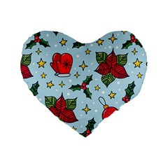 Colorful Funny Christmas Pattern Standard 16  Premium Heart Shape Cushions