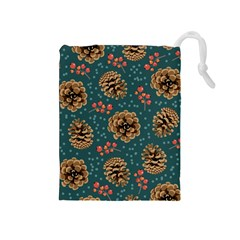 Christmas Seamless Pattern Drawstring Pouch (medium) by Vaneshart
