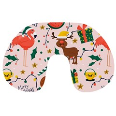 Colorful Funny Christmas Pattern Travel Neck Pillow