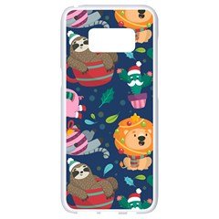 Funny Animal Christmas Pattern Samsung Galaxy S8 White Seamless Case