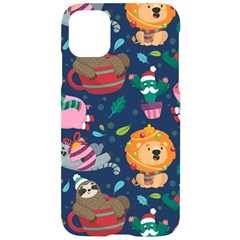 Funny Animal Christmas Pattern Iphone 11 Black Uv Print Case by Vaneshart