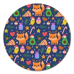 Colorful Funny Christmas Pattern Magnet 5  (round)