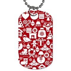 Christmas Seamless Pattern Icons Dog Tag (one Side)
