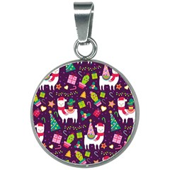 Colorful Funny Christmas Pattern 20mm Round Necklace