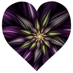 Fractal Flower Floral Abstract Wooden Puzzle Heart