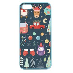 Vector Set Cute Christmas Elements Santa Penguin Deer Bear Fox Owl Trees Snowman Bird Angel More Apple Seamless Iphone 5 Case (color)