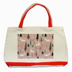 Winter Season Seamless Pattern Decoration Classic Tote Bag (red)