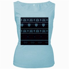 Beautiful Knitted Christmas Pattern Women s Baby Blue Tank Top