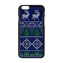 Beautiful Knitted Christmas Pattern Blur Green Iphone 6/6s Black Enamel Case