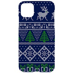 Beautiful Knitted Christmas Pattern Blur Green Iphone 11 Pro Max Black Uv Print Case
