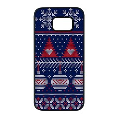 Beautiful Knitted Christmas Pattern Samsung Galaxy S7 Edge Black Seamless Case by Vaneshart