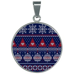 Beautiful Knitted Christmas Pattern 30mm Round Necklace by Vaneshart