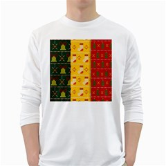 Knitted Christmas Pattern With Socks Bells Long Sleeve T-shirt by Vaneshart