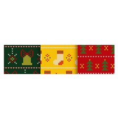 Knitted Christmas Pattern With Socks Bells Satin Scarf (oblong)