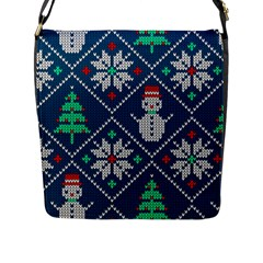 Knitted Christmas Pattern Flap Closure Messenger Bag (l)