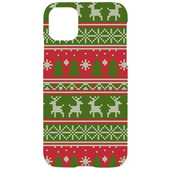 Christmas Knitting Pattern Iphone 11 Black Uv Print Case by Vaneshart