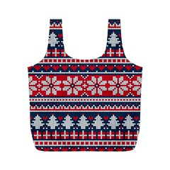 Beautiful Knitted Christmas Pattern Full Print Recycle Bag (m)