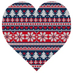 Beautiful Knitted Christmas Pattern Wooden Puzzle Heart