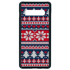 Beautiful Knitted Christmas Pattern Samsung Galaxy S10 Plus Seamless Case (black)