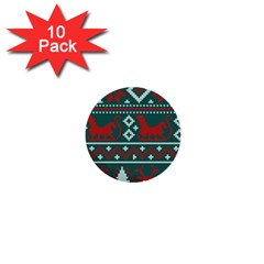 Beautiful Knitted Christmas Pattern 1  Mini Buttons (10 Pack)