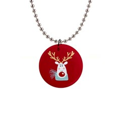 Xmas Deer Button Necklace by xmasyancow