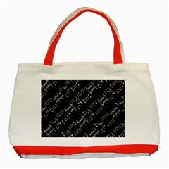 Black And White Ethnic Geometric Pattern Classic Tote Bag (red) by dflcprintsclothing
